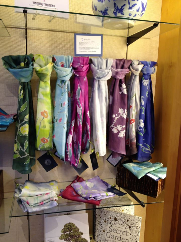 scarves at the San Diego Museum of Art Store